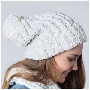 Ivory metallic knit pom beanie